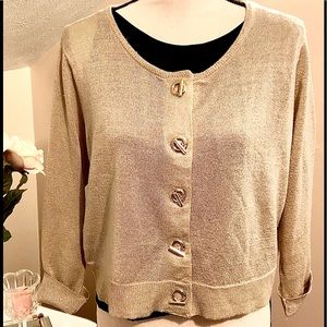 Calvin Klein Gold Cardigan Sweater Cropped sleeve